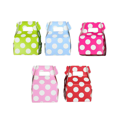 Pack of 6 Mini Polka Dots Favor Treat Boxes - Choose your colour (5 choices)