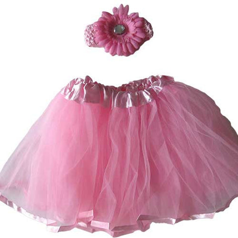 Ballerina Baby Toddler Girl Light Pink Tutu Pettiskit Set with Peony Crochet Headband