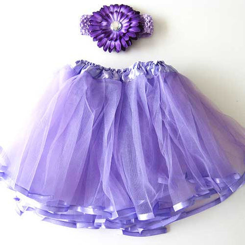 Ballerina Baby Toddler Girl Lavender Purple Tutu Pettiskit Set with Peony Crochet Headband