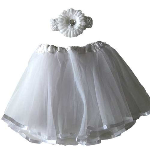 Ballerina Baby Toddler Girl White Tutu Pettiskit Set with Peony Crochet Headband