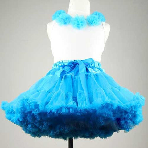 Premium Baby Toddler Girl Turquoise Blue Tutu Pettiskirt Set with Chiffon Pom Pom Floral Top