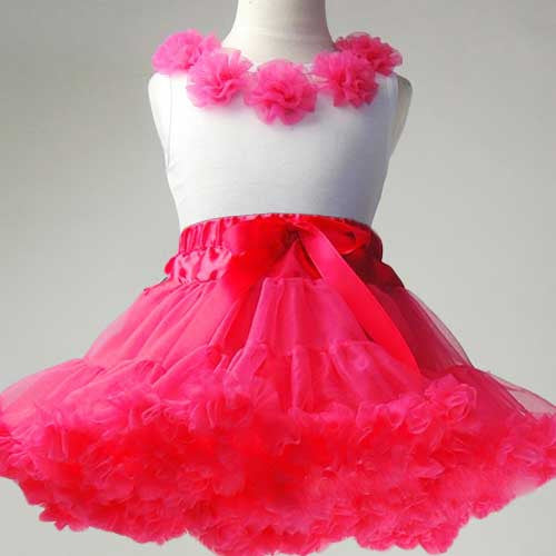 Premium Baby Toddler Girl Hot Pink Tutu Pettiskirt Set with Chiffon Pom Pom Floral Top