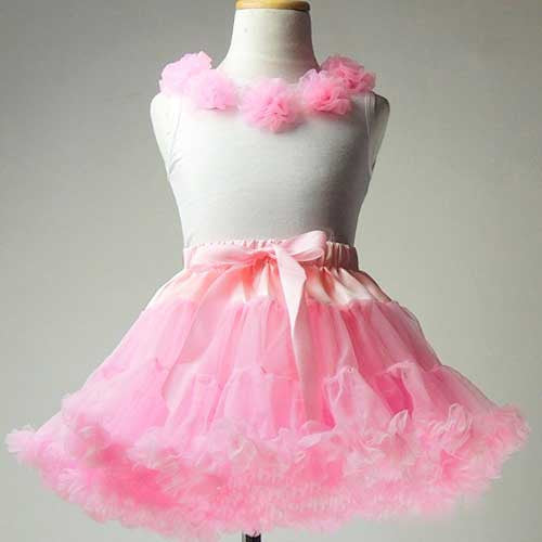 Premium Baby Toddler Girl Light Pink Tutu Pettiskirt Set with Chiffon Pom Pom Floral Top