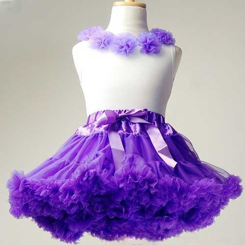 Premium Baby Toddler Girl Purple Tutu Pettiskirt Set with Chiffon Pom Pom Floral Top (Small 1-3T)