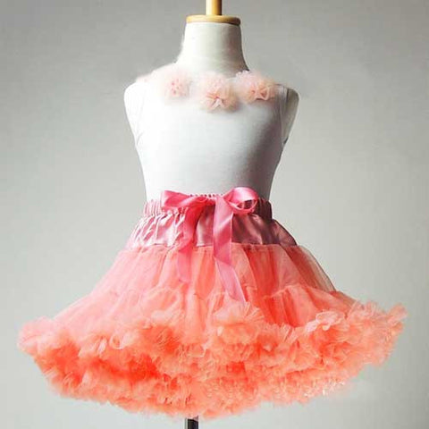 Premium Baby Toddler Girl Salmon Pink Tutu Pettiskirt Set with Chiffon Pom Pom Floral Top (Medium 3-4T)