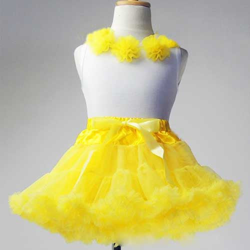 Premium Baby Toddler Girl Yellow Tutu Pettiskirt Set with Chiffon Pom Pom Floral Top