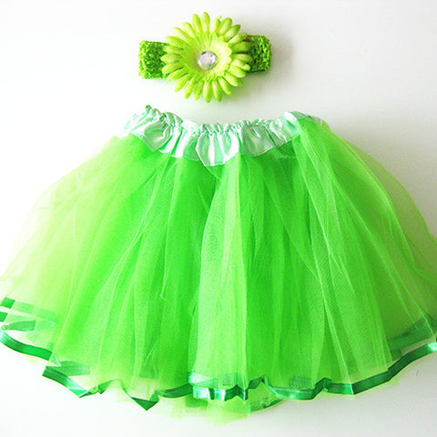Ballerina Baby Toddler Girl Apple Green Tutu Pettiskit Set with Peony Crochet Headband