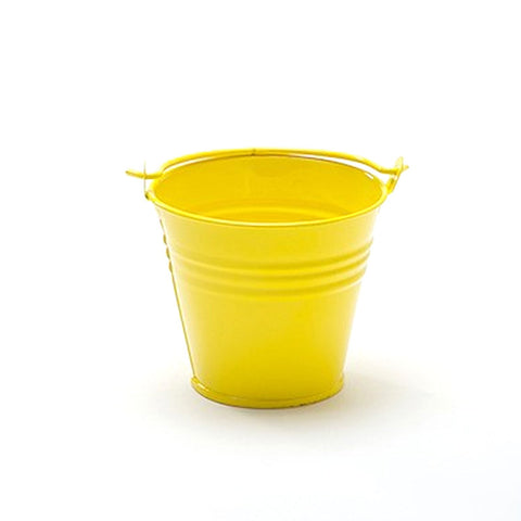 Set of 5 Cute Mini Yellow Party Favor Tin Bucket Candy Pails