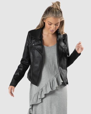 Mabel PU Jacket - Black