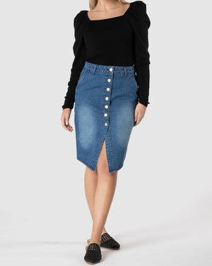Cacey Denim Skirt - Indigo