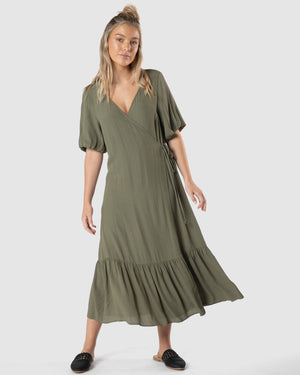 Sylvi Puff Dress - Mossgreen