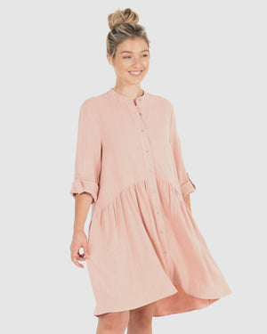 Coco Shirt Dress - Blush