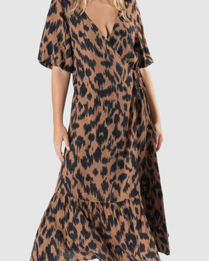 Sylvi Puff Dress - Amber Animal
