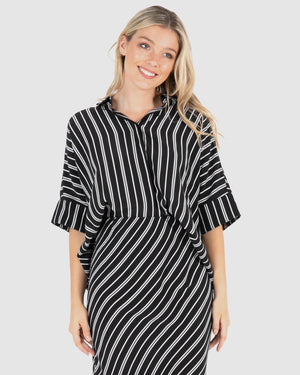 Lucia Shirt - Black/White Stripe