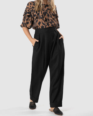 Ida Pleat Pant - Black