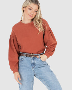 Mary Crew Jumper - Rust