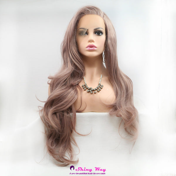 Natural purple long wavy Lace Front Wig - Shiny Way Wigs Sydney NSW