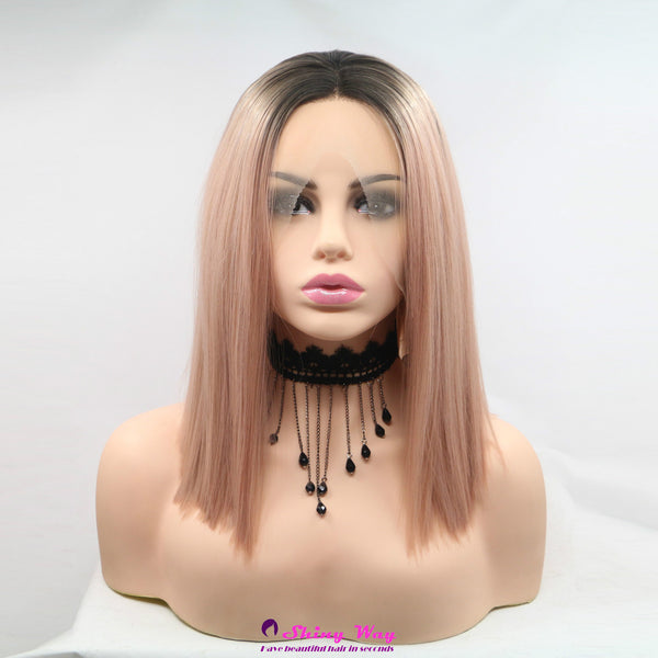 Dark roots pink short Lace Front Wig - Shiny Way Wigs Brisbane QLD