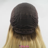 Dark root blonde long straight Lace Front Wig - Shiny Way Wigs Perth