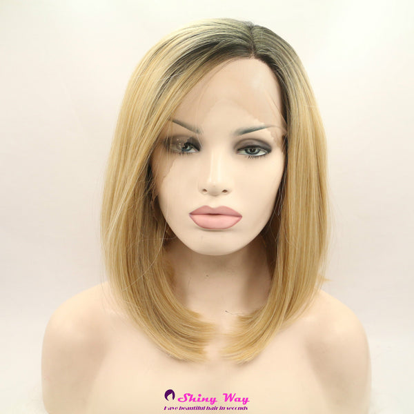 Dark roots blonde short Lace Front Wig - Shiny Way Wigs Brisbane QLD