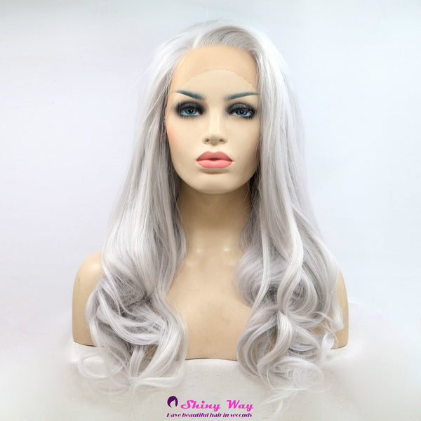 Silver white long wavy Lace Front Wig - Shiny Way Wigs Melbourne VIC
