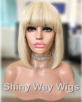 Natural Blonde Straight Fringe Remy Human Hair Wig by Shiny Way Wigs Melbourne