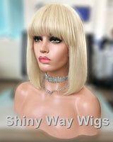 Natural Blonde Straight Fringe Remy Human Hair Wig by Shiny Way Wigs Melbourne VIC