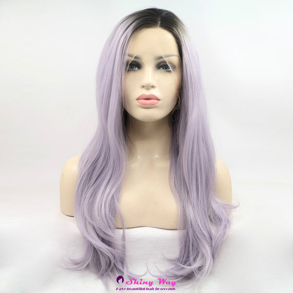 Dark roots purple long wavy Lace Front Wig - Shiny Way Wigs Melbourne