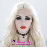 Natural White Blonde Long Curly Lace Front Wig - Shiny Way Wigs Sydney
