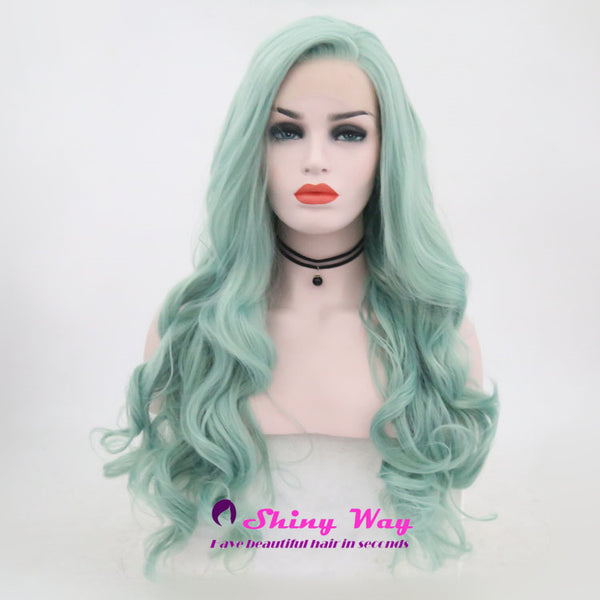 Natural Mint Long Curly Lace Front Wigs - Shiny Way Wigs Perth
