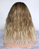 Wheat Blonde with Dark Roots Brazilian Virgin Human Hair Lace Wig - Shiny Way Wigs Brisbane AU