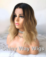 Omber Color Medium Wavy Brazilian Virgin Human Hair Lace Wig by Shiny Way Wigs Sydney