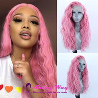 Light Pink Long Curly Lace Front Wig - Shiny Way Wigs Melbourne