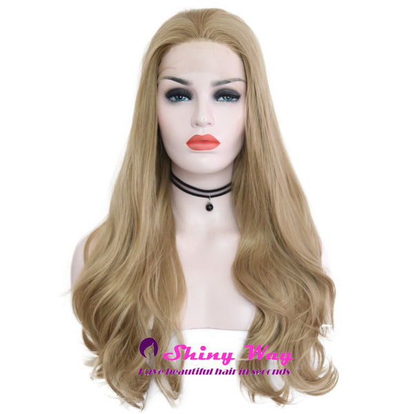 Golden Blonde Long Curly Lace Front Wig - Shiny Way Wigs Adelaide