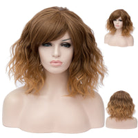 Fade brown medium length curly wig by Shiny Way Wigs Melbourne VIC