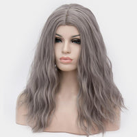 Dark grey long curly wig at Shiny Way Wigs Brisbane QLD