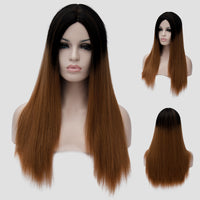 Dark roots natural brown long straight wig by Shiny Way Wigs Melbourne