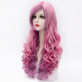 Multi color long curly side fringe party wig by Shiny Way Wigs Sydney