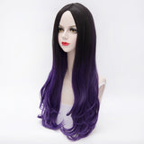 Dark roots purple long curly fashion wig by Shiny Way Wigs Brisbane