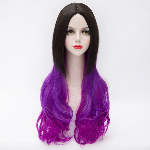 Dark roots purple long curly fashion wig by Shiny Way Wigs Melbourne