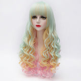 Multi color long curly full fringe party wig by Shiny Way Wigs Sydney