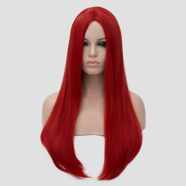 Natural red long straight wig without fringe by Shiny Way Wigs Brisbane
