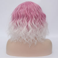 Fade pale pink medium length curly wig by Shiny Way Wigs Melbourne VIC