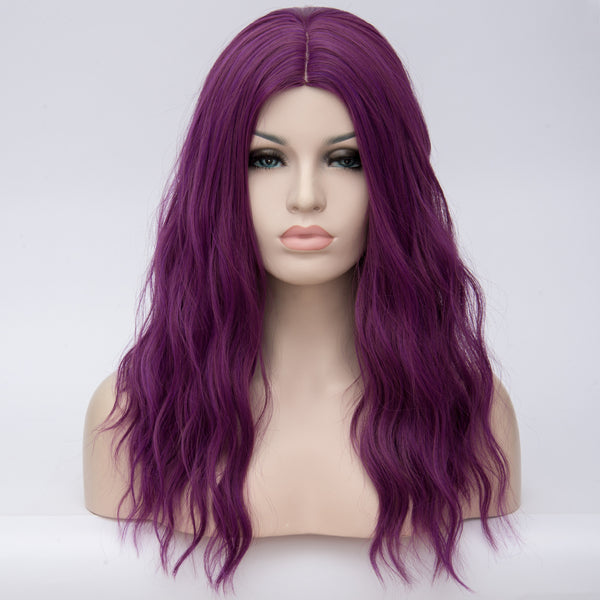 Dark purple long curly wig middle part at Shiny Way Wigs Brisbane QLD