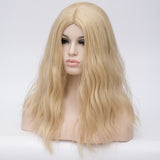 Natural blonde long curly wig middle part at Shiny Way Wigs Perth WA