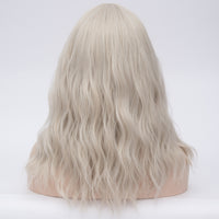 Silver grey long curly wig middle part at Shiny Way Wigs Brisbane QLD
