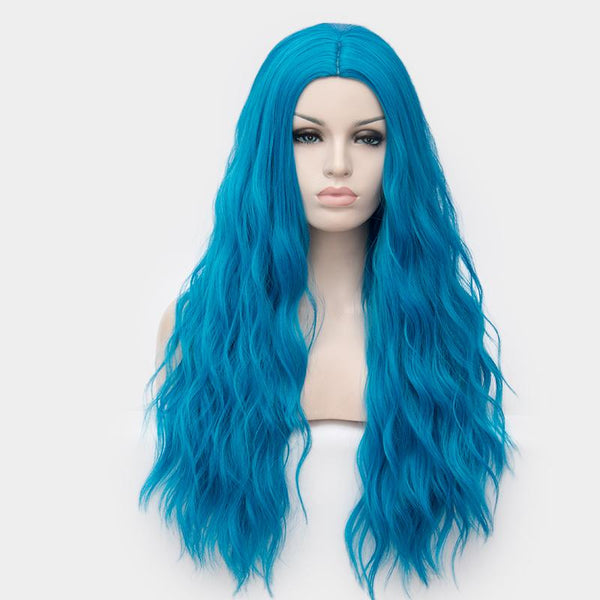 Blue colour long curly wig without fringe - Shiny Way Wigs Sydney NSW