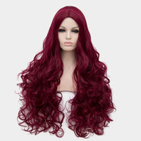 Wine red middle part long curly wig by at Shiny Way Wigs Adelaide SA