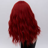Natural hot red long curly wig middle part at Shiny Way Wigs Sydney