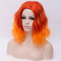 Orange mix with red medium length curly wig Shiny Way Wigs Perth WA